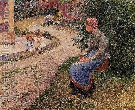 A Servant Seated in the Garden at Eragny by Camille Pissarro - Reproduction Oil Painting