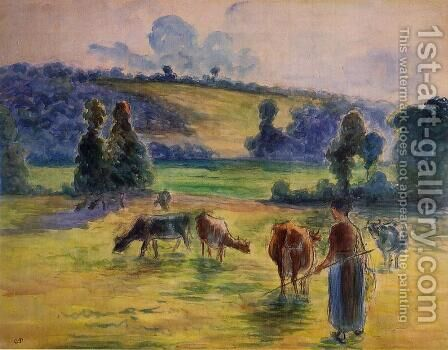 Study for 'Cowherd at Eragny' by Camille Pissarro - Reproduction Oil Painting