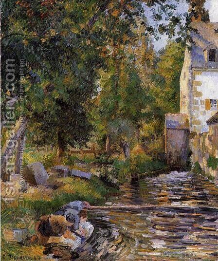 Laundry and Mill at Osny by Camille Pissarro - Reproduction Oil Painting