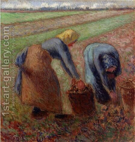 Potato Harvest by Camille Pissarro - Reproduction Oil Painting
