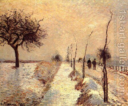 Road at Eragny: Winter by Camille Pissarro - Reproduction Oil Painting