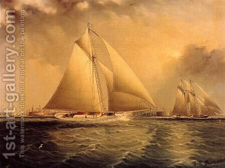 Yachting in New York Harbor by James E. Buttersworth - Reproduction Oil Painting
