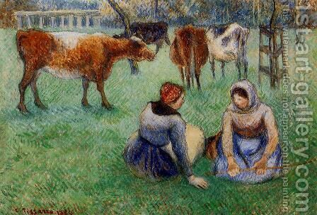 Seated Peasants Watching Cows by Camille Pissarro - Reproduction Oil Painting