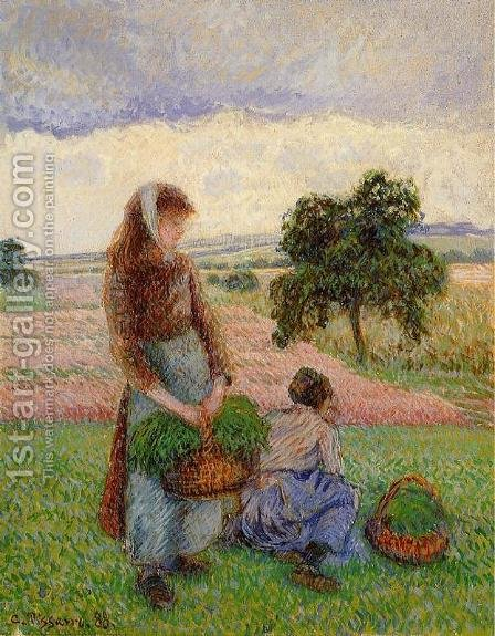 Peasant Woman Carrying a Basket by Camille Pissarro - Reproduction Oil Painting