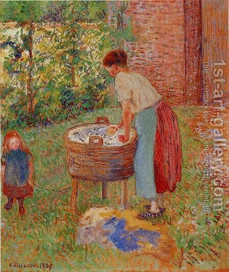 Washerwoman, Eragny by Camille Pissarro - Reproduction Oil Painting