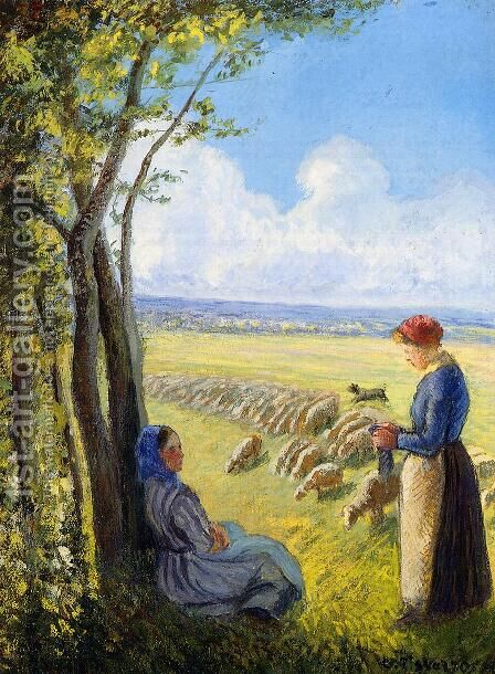 Shepherdesses by Camille Pissarro - Reproduction Oil Painting