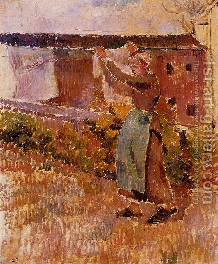 Women Tending the Laundry (study) by Camille Pissarro - Reproduction Oil Painting