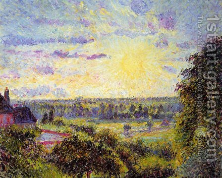 Sunset at Eragny I by Camille Pissarro - Reproduction Oil Painting