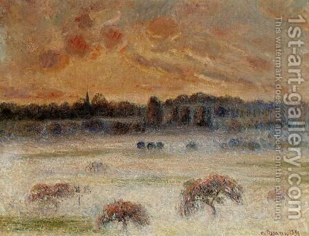 Sunset with Fog, Eragny by Camille Pissarro - Reproduction Oil Painting