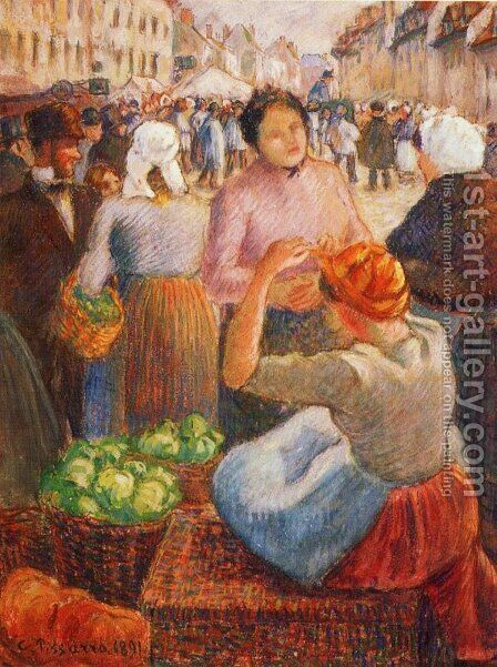 Marketplace, Gisors by Camille Pissarro - Reproduction Oil Painting