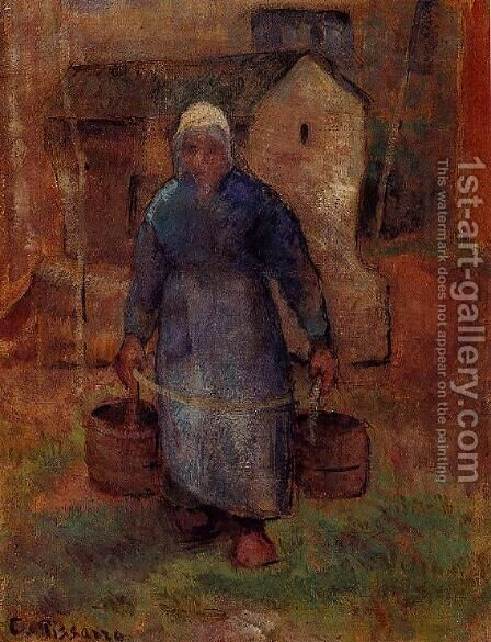 Woman with Buckets by Camille Pissarro - Reproduction Oil Painting