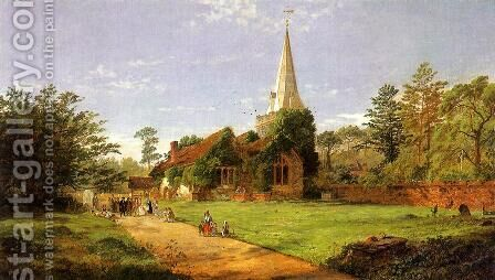 William Penn's Wedding by Jasper Francis Cropsey - Reproduction Oil Painting