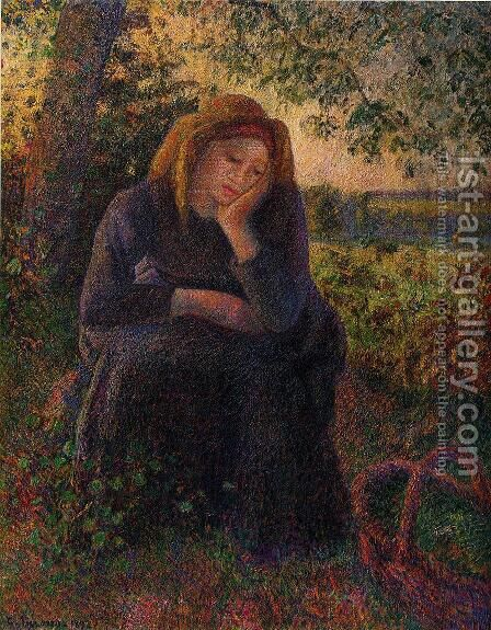 Seated Peasant by Camille Pissarro - Reproduction Oil Painting