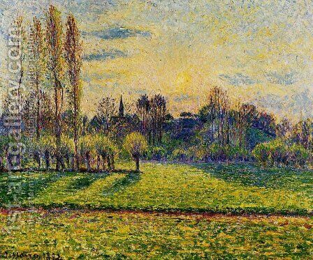 View of Bazincourt, Sunset by Camille Pissarro - Reproduction Oil Painting