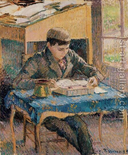 Portrait of Rodo Reading by Camille Pissarro - Reproduction Oil Painting