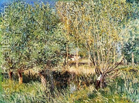 Willows on the Banks of the Orvanne by Alfred Sisley - Reproduction Oil Painting