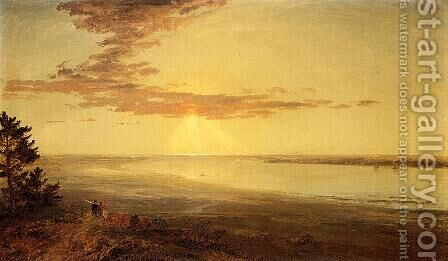 View of the Hudson by Jasper Francis Cropsey - Reproduction Oil Painting