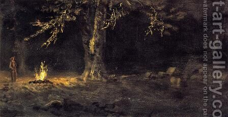 Campfire, Yosemite Valley by Albert Bierstadt - Reproduction Oil Painting