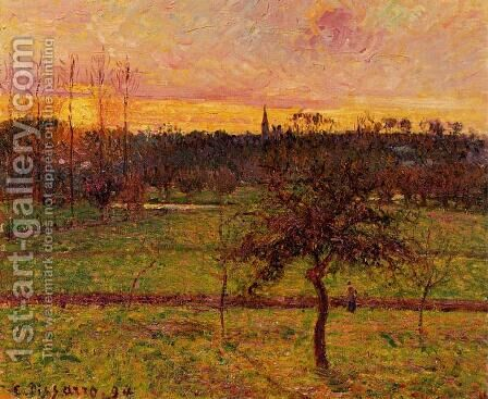 Sunset at Eragny II by Camille Pissarro - Reproduction Oil Painting