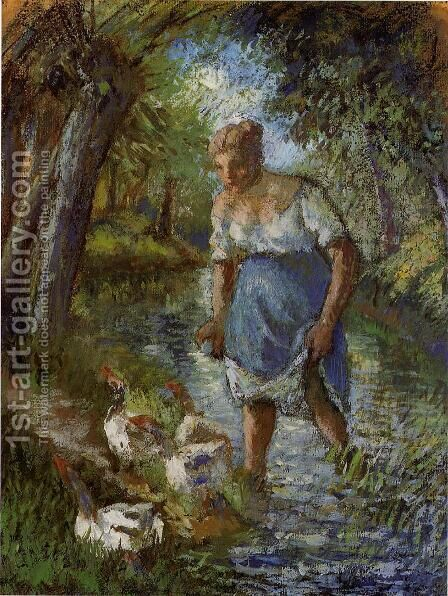 Peasant Crossing a Stream by Camille Pissarro - Reproduction Oil Painting