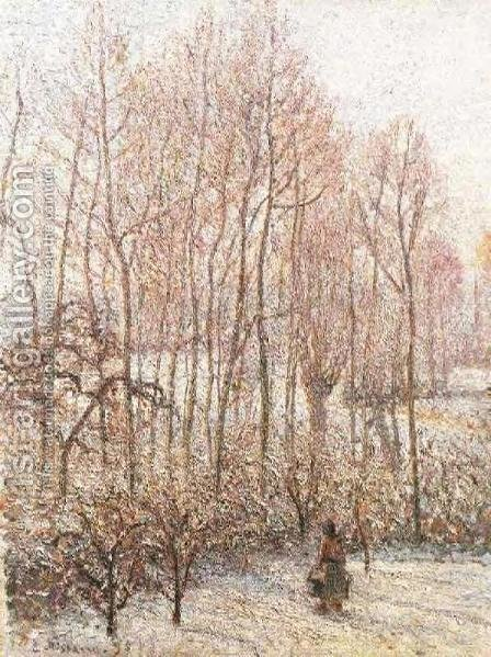 Morning, Sunshine Effect, Winter by Camille Pissarro - Reproduction Oil Painting
