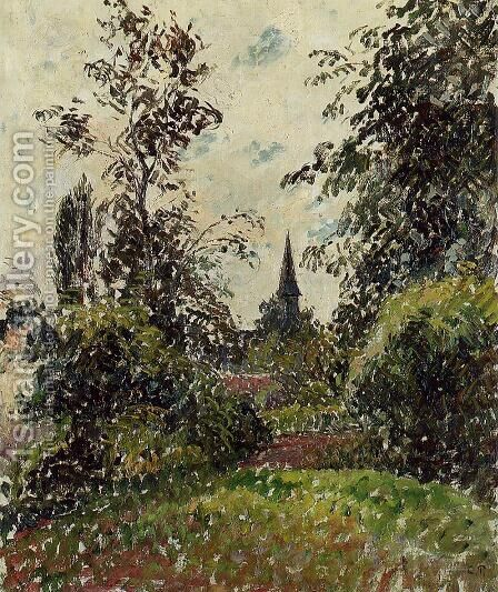 The Bazincourt Steeple (study) by Camille Pissarro - Reproduction Oil Painting
