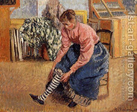 Woman Putting on Her Stockings by Camille Pissarro - Reproduction Oil Painting