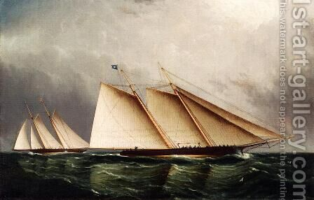 Yacht 'Dauntless' Racing Toward Victory by James E. Buttersworth - Reproduction Oil Painting