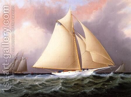 Yacht under Full Sail by James E. Buttersworth - Reproduction Oil Painting