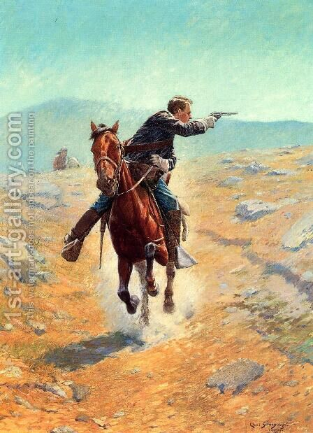 The Messenger by Charles Schreyvogel - Reproduction Oil Painting