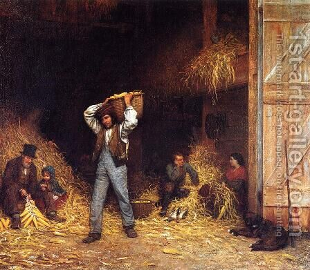 Corn Husking by Eastman Johnson - Reproduction Oil Painting