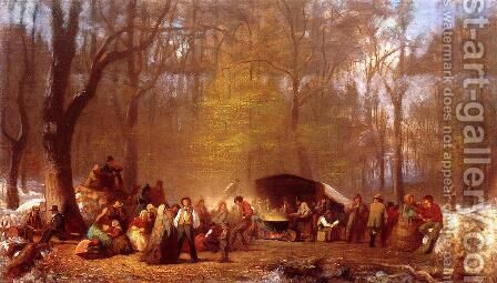 Sugaring Off at the Camp, Fryeburg, Maine by Eastman Johnson - Reproduction Oil Painting