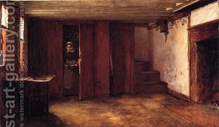 Susan Ray's Kitchen - Nantucket by Eastman Johnson - Reproduction Oil Painting