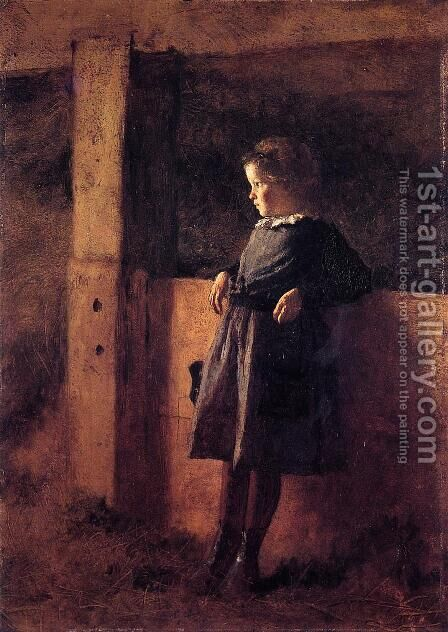 Girl in Barn by Eastman Johnson - Reproduction Oil Painting