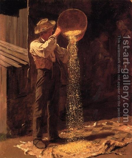 Winnowing Grain by Eastman Johnson - Reproduction Oil Painting