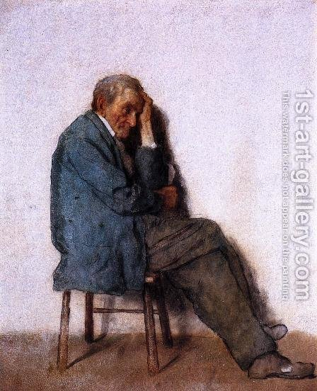 Old Man, Seated by Eastman Johnson - Reproduction Oil Painting