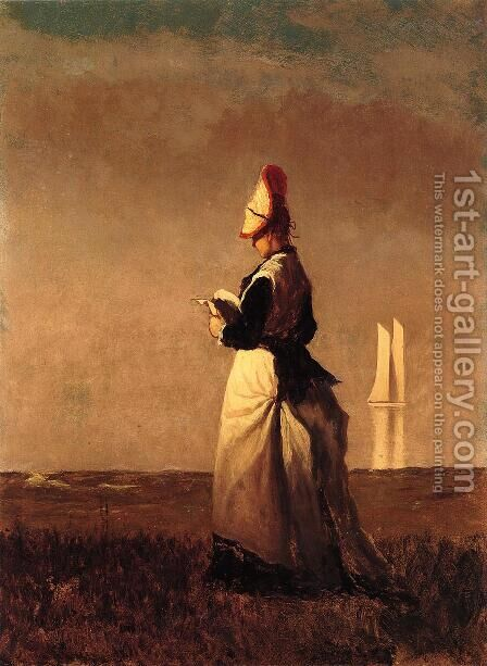 Woman Reading by Eastman Johnson - Reproduction Oil Painting