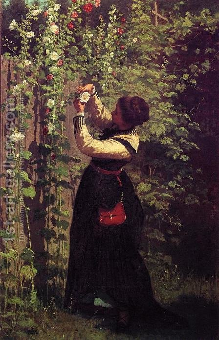 Catching the Bee by Eastman Johnson - Reproduction Oil Painting