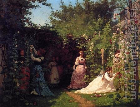 Hollyhocks by Eastman Johnson - Reproduction Oil Painting