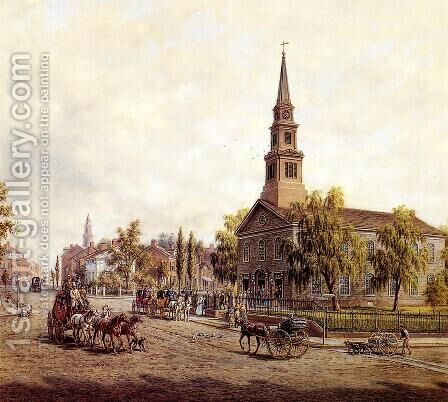 St. Mark's in the Bowery in the Early Forties by Edward Lamson Henry - Reproduction Oil Painting