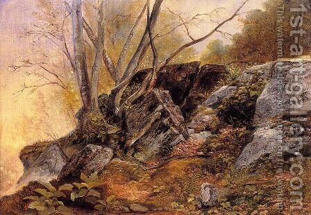 Study from Nature, Rocks and Trees by Asher Brown Durand - Reproduction Oil Painting