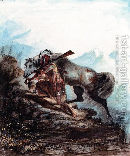 An Indian with the Scalp Lock of His Enemy by Alfred Jacob Miller - Reproduction Oil Painting