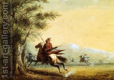 Indians in Pursuit by Alfred Jacob Miller - Reproduction Oil Painting
