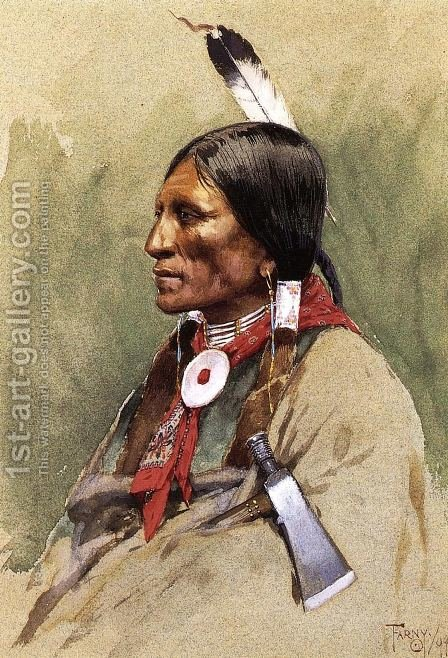 Indian Portrait by Henry Farny - Reproduction Oil Painting