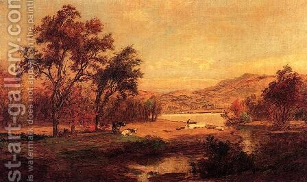 By the Lake by Jasper Francis Cropsey - Reproduction Oil Painting