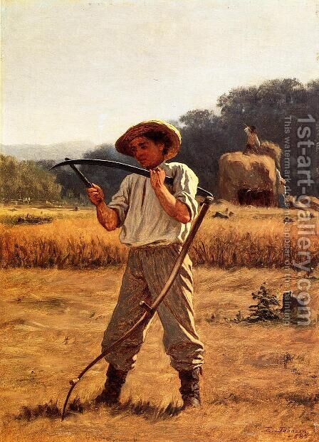 Man with Sythe by Eastman Johnson - Reproduction Oil Painting