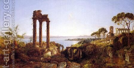 Overlookig the Bay of Naples by Jasper Francis Cropsey - Reproduction Oil Painting