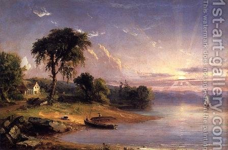 Boat Caulking on Greenwood Lake by Jasper Francis Cropsey - Reproduction Oil Painting