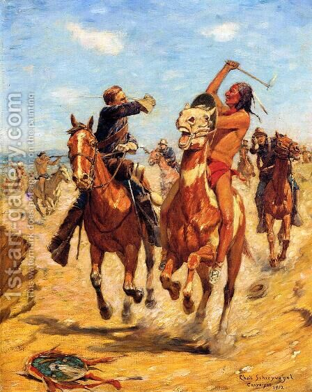 The Duel by Charles Schreyvogel - Reproduction Oil Painting
