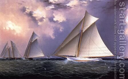 Mischief and Gracie America's Cup Trial Race, 1881 by James E. Buttersworth - Reproduction Oil Painting